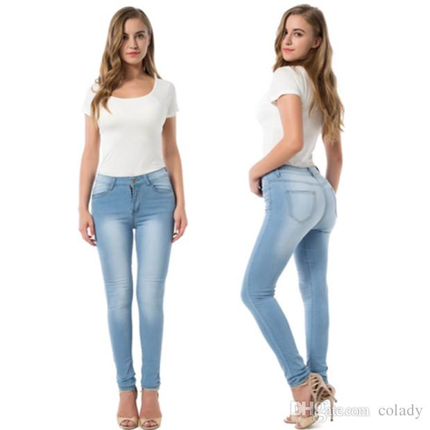 2020 Fashion Elastic Skinny Jeans Women Pencil Pants Casual .