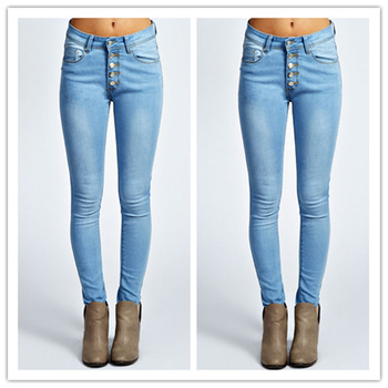 5 Button Mid Rise Skinny Jeans Sexy Women Tight Jeans Pants - Buy .
