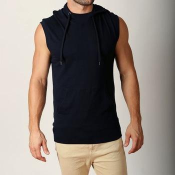 Black Men Hoodie Gym Wear Casual Wear Sleeveless Hoodie - Buy .