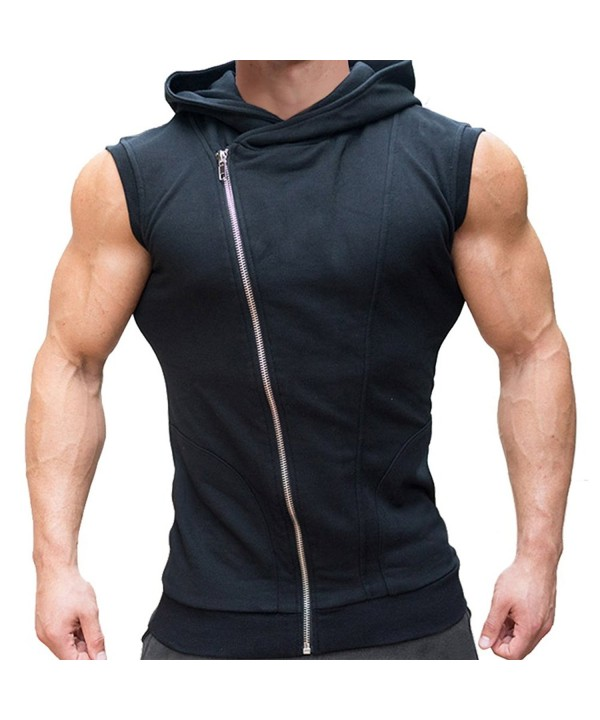 Men's Workout Gym Sleeveless Hoodie Bodybuilding Muscle Vest .