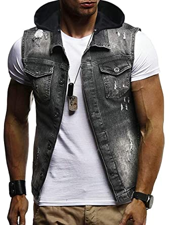 XQS Men Casual Sleeveless Hoodie Button Down Denim Vests Jackets .