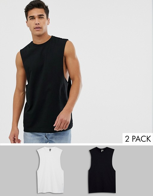 ASOS DESIGN 2 pack organic relaxed sleeveless t-shirt with dropped .