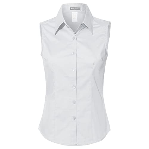 Women's Sleeveless Collar Blouse: Amazon.c