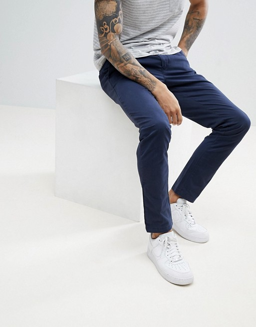 Tommy Hilfiger Bleecker Slim Fit Chinos Back Flag Logo in Navy | AS
