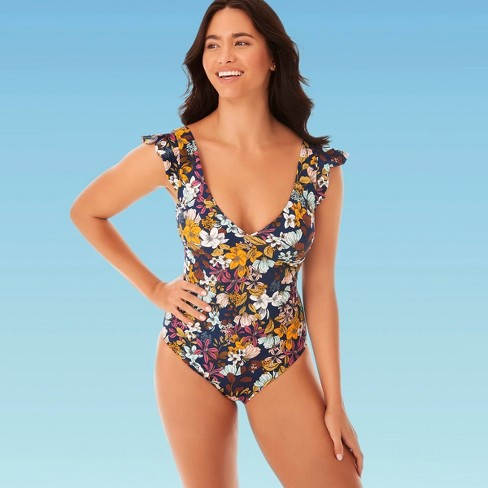 Women's Slimming Control Ruffle Sleeve One Piece Swimsuit - Beach .
