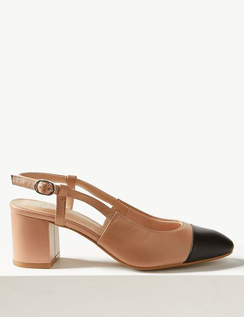 Marks & Spencer's beige and black block heel sandals are ba