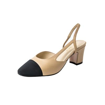 Two Tone Block Heel Slingback Sandals - Kaitlyn Pan Sho