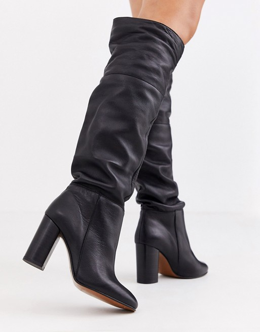 Depp black leather slouch knee boots | AS