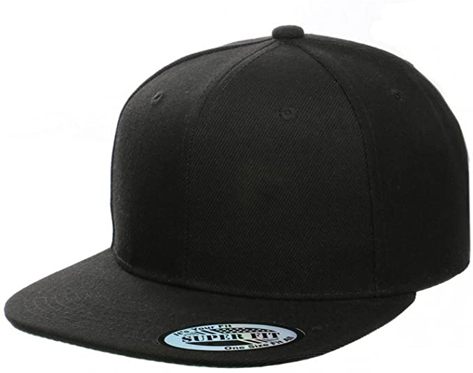 Blank Adjustable Flat Bill Plain Snapback Hats Caps (One Size .