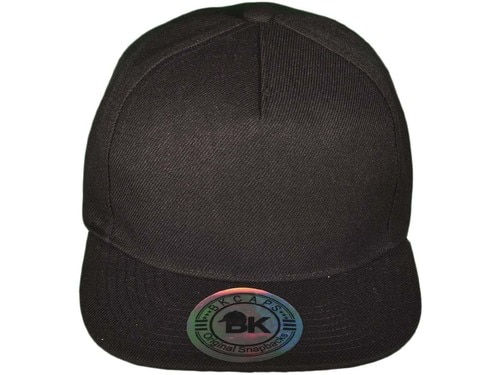 Wholesale BK Caps Flat Bill 5 Panel Snapback Hats with Same Color .