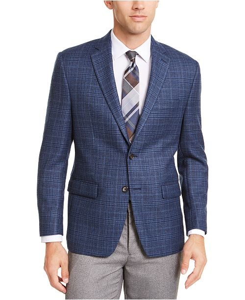 Lauren Ralph Lauren Men's Classic-Fit UltraFlex Stretch Blue Plaid .