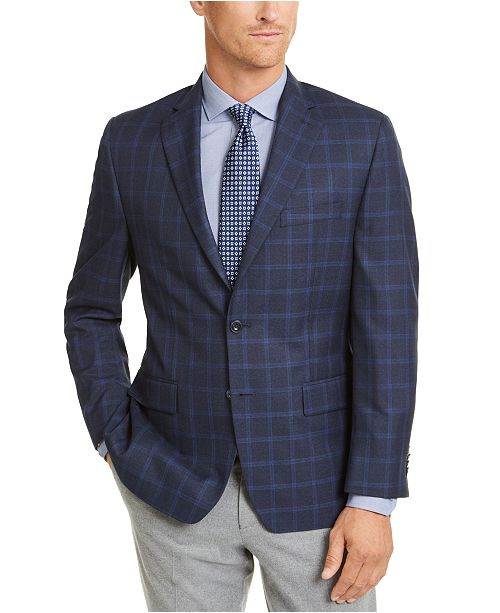 Michael Kors Men's Classic-Fit Navy/Blue Windowpane Sport Coat .