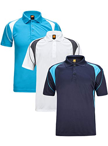GEEK LIGHTING Men's Quick-Dry Short Sleeve Polo Sport Shirts .