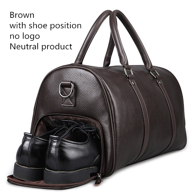 FEGER Men Genuine Leather Travel Bag Weekend Duffle Bag Large .