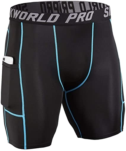 Amazon.com: SILKWORLD Men's Compression Shorts Pockets Sports .