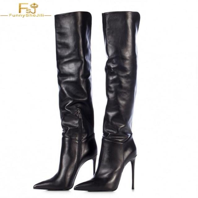 Women's Fashion Black Stiletto Boots Sexy Pointy Toe Knee high .