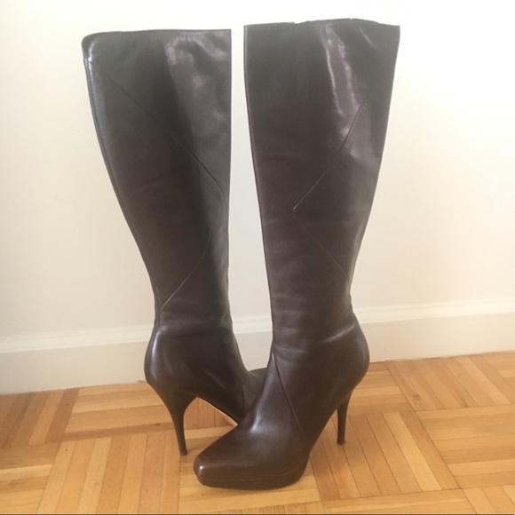 Via Spiga Shoes | Brown Genuine Leather Stiletto Boots | Poshma