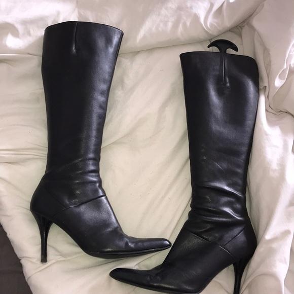 Nine West Shoes | Black Leather Stiletto Boots | Poshma