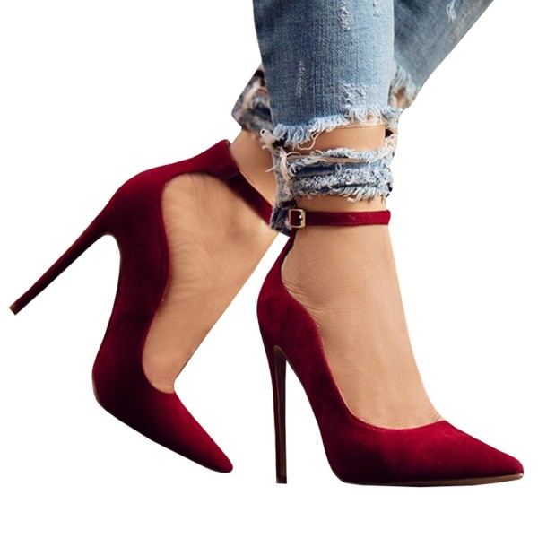 Womens Stilettos Pointed Toe High Heel Pumps Ankle Buckle Strap .