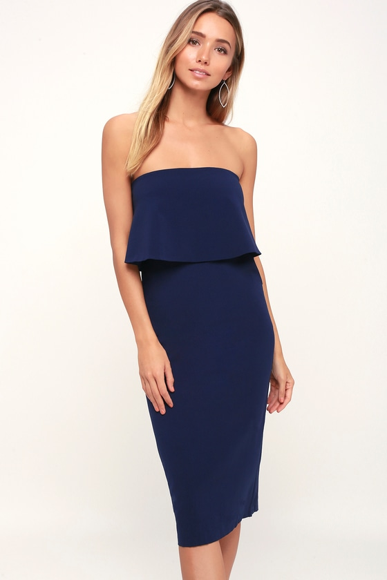 Cute Blue Dress - Blue Strapless Dress - Blue Midi Dre