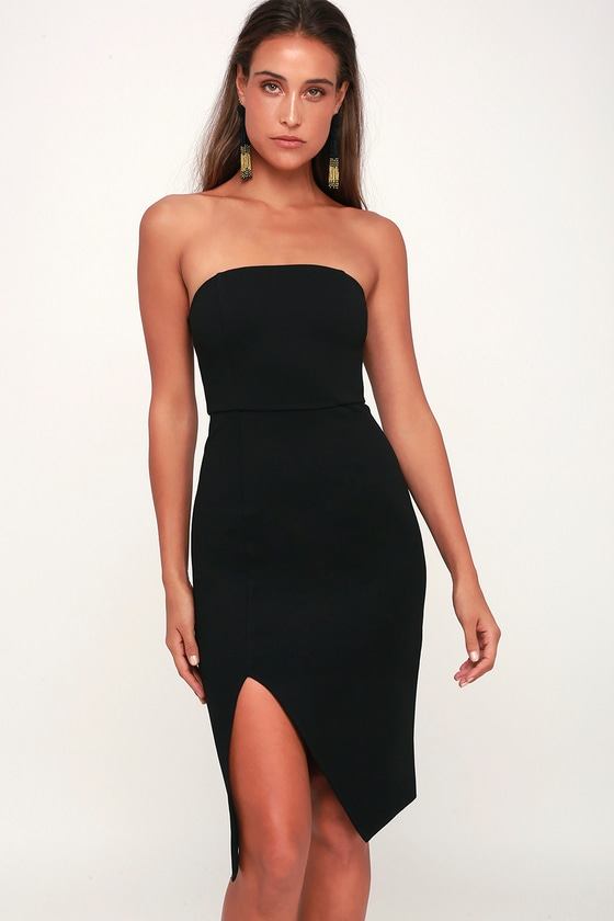 Sexy Black Bodycon Dress - Strapless Dress - Party Dre