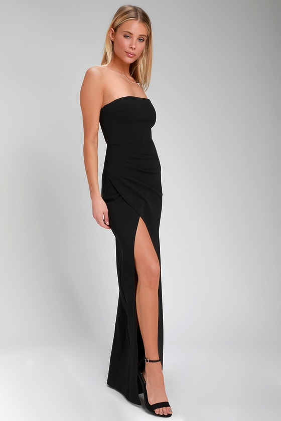 Sexy Maxi Dress - Black Maxi Dress - Strapless Maxi Dre