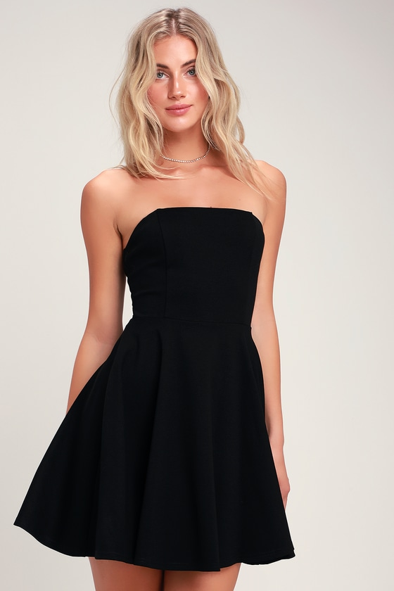 Cute Black Dress - Strapless Dress - Strapless Skater Dre
