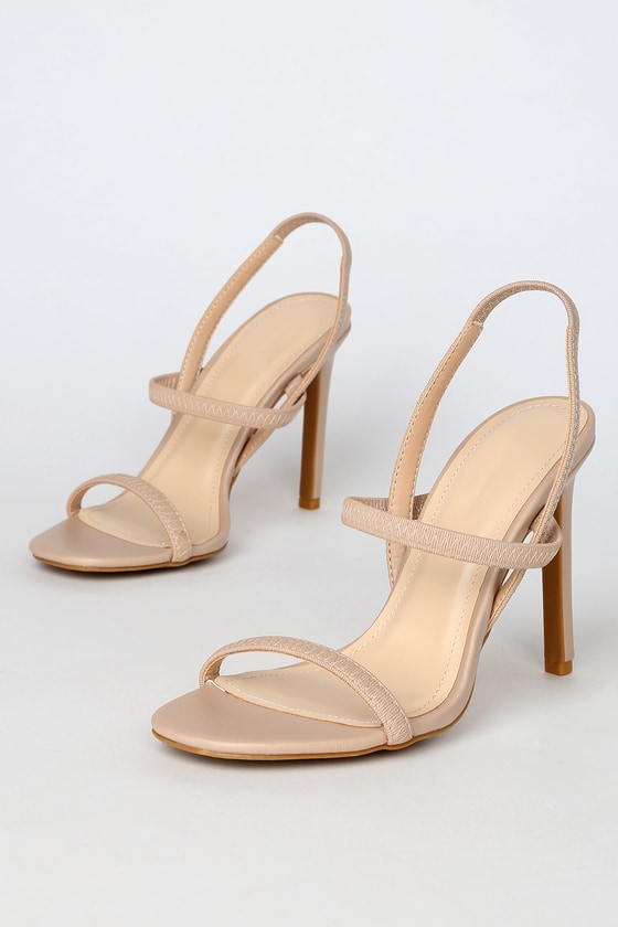 Sexy Nude Heels - Strappy Heels - Barely-There Hee
