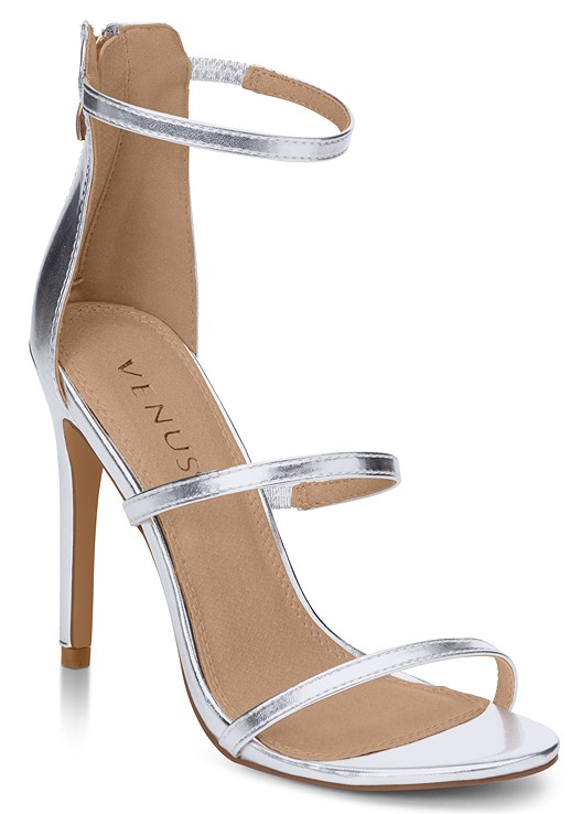 High Heel Strappy Sandals in Silver | VEN
