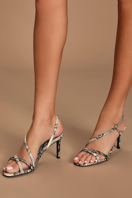 Sexy Snake Print Heels - Strappy Heels - High Heel Sanda