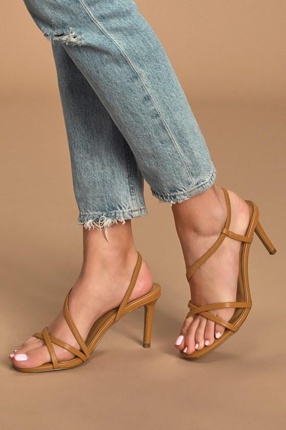Brown Heels - Square-Toe Strappy Heels - High Heel Sanda