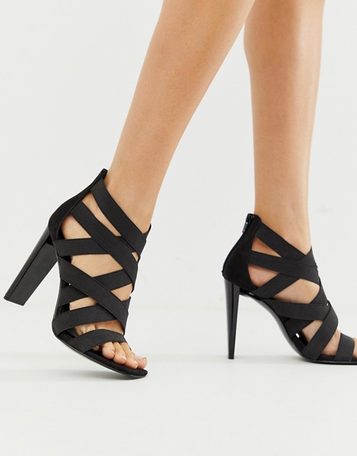 ASOS DESIGN Hunt elastic strappy block heeled sandals | AS