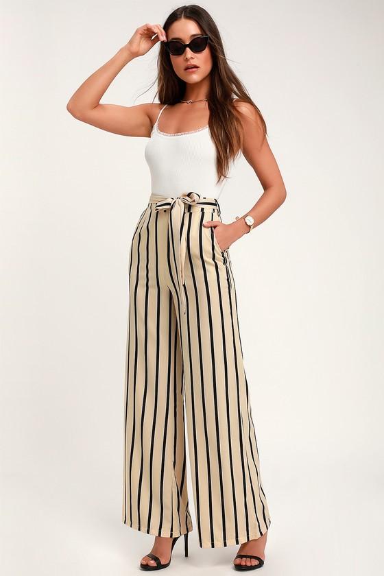 Chic Beige Striped Pants - Office Chic Pants - Wide Leg Pan
