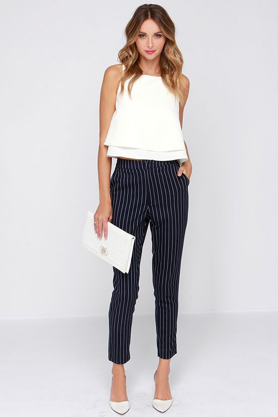 Sunday Girl Navy Blue Striped Pants | Summer work outfits, Fashion .