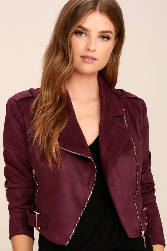 Cool Burgundy Moto Jacket - Vegan Suede Moto Jacket - Zipper .