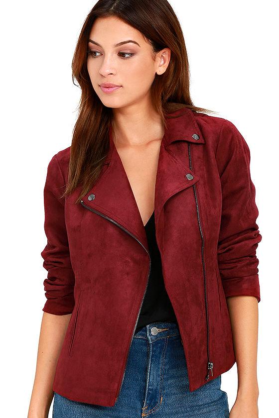Olive & Oak - Faux Suede Jacket - Wine Red Jacket - Moto Jacket .