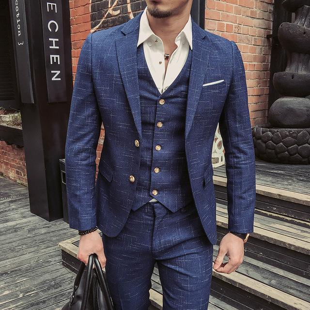Italian Style Men Slim Fit Suit with Vest– FanFrea