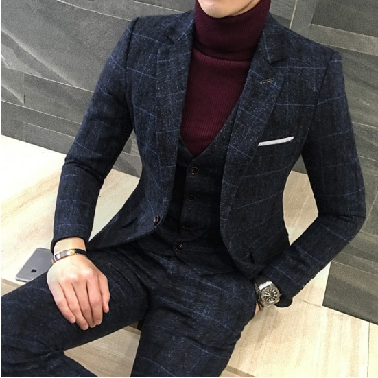 3 Pieces 2019 Suits Men British New Style Designs Royal Blue Mens .