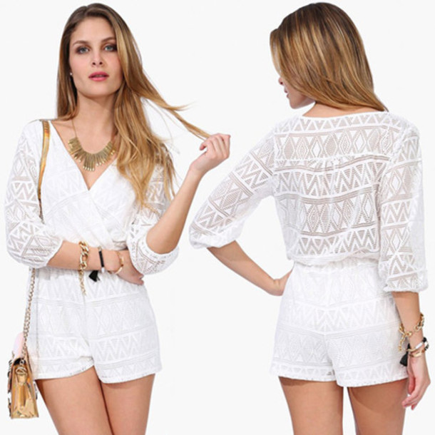 jumpsuit, fashion, pretty, clothes, white, lace, trendy, elegant .