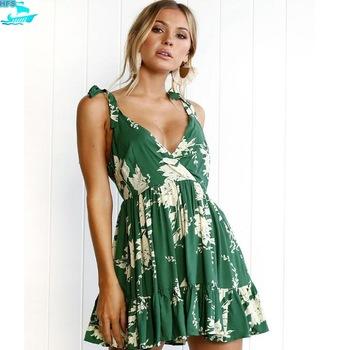 Hfs1275b Woman Summer Dress 2018 Printed Women Green Beach Dresses .