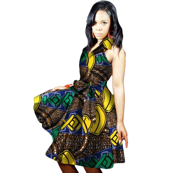 Women Summer Dresses Traditional African Print Sexy Sleeveless V .