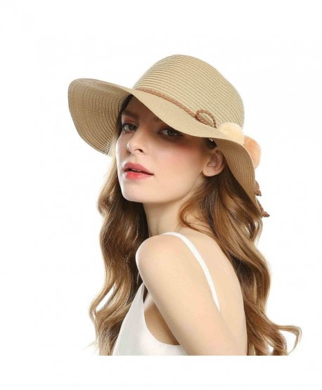Foldable Straw Summer Hats Women Wide brimmed Hats With Balls For .
