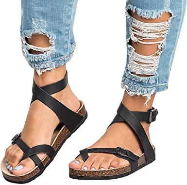 Amazon.com: Womens Flat Sandals Ankle Strap Buckle Flip Flop .