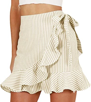 Amazon.com: Women Mini Short Skirts,Summer Stripe Ruffle High .