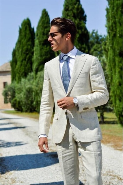 Ivory/White Linen Casual Men Suits Summer Beach Wedding Suits For .