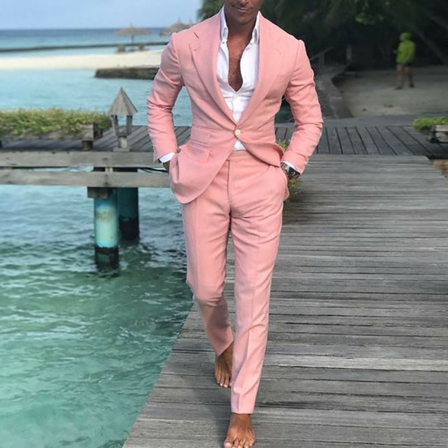 2019 Latest Coat Pants Designs Summer Beach Men Pink Suits For .