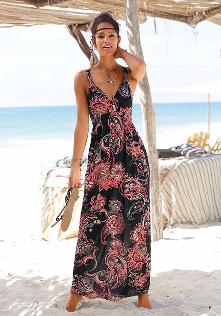 Strap accent maxi dress | Beautiful maxi dresses, Summer dresses .