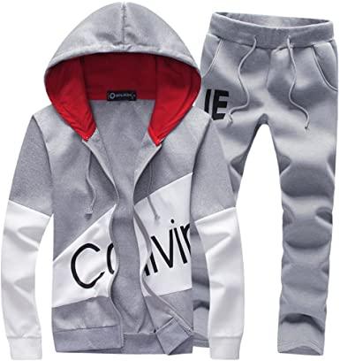 Manluo Men's Tracksuits Print Sweatsuits Slim Casual Jogging Suits .