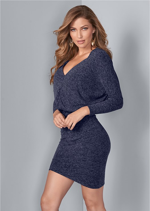 V-Neck Sweater Dress in Heathered Navy | VEN