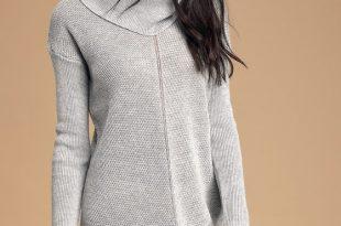 Cute Grey Knit Dress - Cowl Neck Dress - Long Sleeve Dre